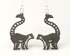 Ring-tailed lemur - Wood Earrings on Etsy, $12.95