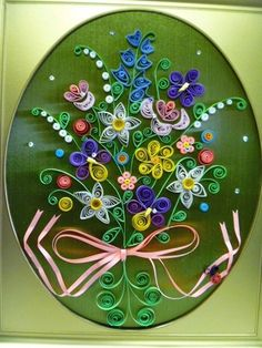 Vintage Paper Quilling Dimensional Art Framed Picture Flower Bouquet 8 1 2 x 11 | eBay