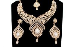 Elegant Bridal Set Heavy Gold Silver Diamante Crystal Vintage Indian Jewelry Necklace Earrings & Tikka Wedding Jewellery Party Prom by Glimour on Etsy