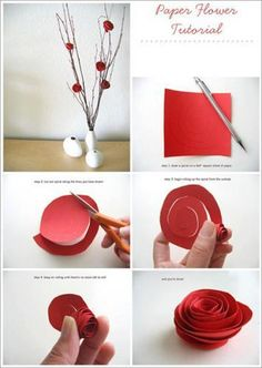Want to make an elegant paper rose try this tutorial out..!!  you just need some chart paper or any scrapbook paper then cut it in square shape then make circle shape or a big swirl on the square cut out then cut it out and roll it nicely or you can also glue while rolling the paper..  you can also attach on some bamboo stick with hard glue to make it more decorative..  Enjoy this tutorial...!! =)