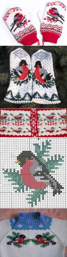 Bullfinch scheme for knitting. Knitted Mittens Pattern, Knit Mittens, Knitting Socks, Knitted Gloves, Knitting Charts, Knitting Stitches, Knitting Patterns, Crochet Patterns, Bonnet Crochet