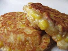 Serves 4 INGREDIENTS: 1 can whole kernel corn 2 eggs Salt & pepper to taste cup flour 1 tsp baking powder shredded cheese 1 pat butter 2 tbsp oil DIRECTIONS: Drain corn and discard liquid. Put eggs, salt and pepper in a bowl and Corn Fritter Recipes, Corn Recipes, Easy Recipes, Delicious Recipes, Skinny Recipes, Cornbread Recipes, Vegetable Dishes, Vegetable Recipes, Appetizers