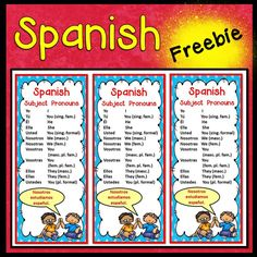 Spanish Subject Pronouns Bookmark FREEBIE These grammar bookmarks are handy and useful tools for language learners. I created them to be used in conjunction with my Spanish Subject Pronoun Unit. Spanish Subject Pronouns Posters and Worksheets Spanish Grammar, Spanish Language Learning, Spanish Teacher, Spanish Classroom, Teaching Spanish, Teaching Resources, Pronoun Activities, Spanish Activities, Spanish Games