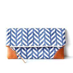 HERRINGBONE Indigo Fold over Clutch purse