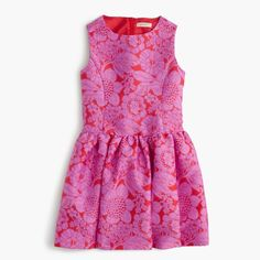 Girls' full-skirt dress in floral lace print