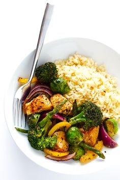 Everything you love about a chicken and veggie stir-fry...roasted up in a sheet pan! It's so easy!