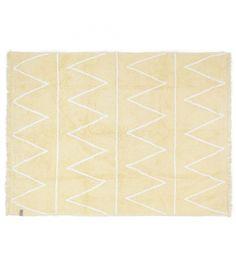 Alfombra lavable Hippy en color amarillo. Los colores marshmallow son la última tendencia en decoración de interiores.