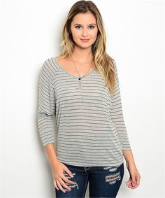 Gray/Black Striped Top – The Fig Leaf Boutique