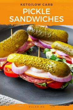 """Craving sandwiches, but haven't had anything to replace the bread since you started keto? Well, look no further than these savory pickle sandwiches! Everything you can get in a """"regular"""" sandwiches between a pickle! #pickle #dill #ketosnacks #picklesandwiches #snackitems Quick Snacks, Keto Snacks, Pickle Pickle, Snack Items, Starting Keto, Pickles, Cravings, Sandwiches, Low Carb"""