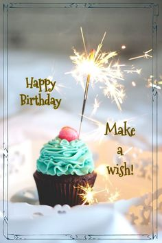 Best Birthday Quotes : Happy Birthday cupcake sparkler - Grace Home Happy Birthday Cupcakes, Happy Birthday Flower, Happy Birthday Candles, Happy Birthday Pictures, Birthday Fun, Sister Birthday, Happy Birthday Wishes Cards, Birthday Blessings, Birthday Wishes Quotes