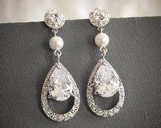 Art Deco Bridal Earrings, Swarovski Crystal Chandelier Wedding Earrings, Zirconia Teardrop Statement Earrings, Rivoli Dangle Studs, HAIYA