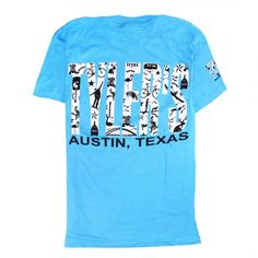 Austin Print Black, inspired by the Limited Edition Austin TOMS shoes print. This shirt has all your local Austin icons printed inside the iconic TYLER'S letters!
