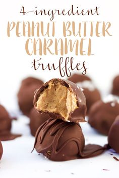 Vegan + gluten-free truffles filled with creamy date caramel and peanut butter, and coated in a shell of chocolate. A decadent treat made with only four ingredients! | 4-Ingredient Peanut Butter Caramel Truffles (vegan + gluten-free) | So Much Yum