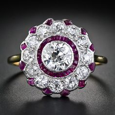 Early Art Deco Diamond and Calibre Ruby Ring