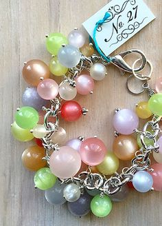 A bevy of vintage moonglow beads collected and assembled in this stunner! Upcycled Vintage, Stones And Crystals, Handcrafted Jewelry, Bridal Jewelry, Vintage Jewelry, Jewelry Making, Pearls, Sterling Silver, Bracelets