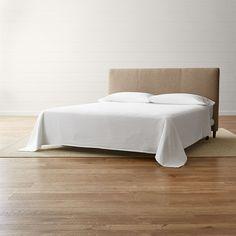 crate u0026 barrel lowe khaki upholstered king headboard rub liked on polyvore - Upholstered Headboard King