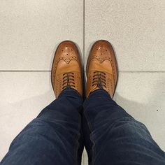 A super smart shot from @az_collins sporting a rather #dapper pair of Loakes.  #Loake #Chester #brogue #tan #madeinengland #shoes #craftsmanship #nofilter #iphone #