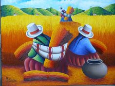 they look much like the Bolivianas the came to the north of Argentina to cut the sugar canes/ Peruvian Art, Cultural Crafts, Object Drawing, Mexican Artists, Naive Art, Fabric Painting, Folk Art, Modern Art, Art Drawings