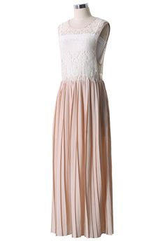 Floral Lace Pleated Maxi Dress in Peach - New Arrivals - Retro, Indie and Unique Fashion