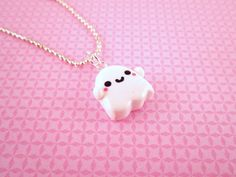 Ghost Kawaii Polymer Clay Pendant Necklace by DoodieBear on Etsy, $9.00