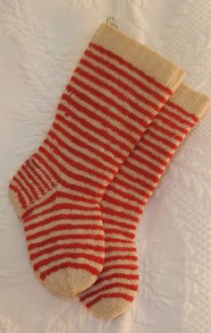 Pair Late 19th C Striped Wool Child's Socks