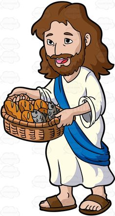 jesus christ carrying a basket of bread and fish cartoon clipart