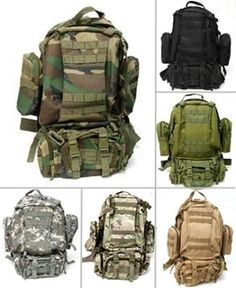 Military Style Backpack (this backpack can split into 4 mini bags) Check it out.