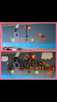 3d knutsel: stoomboot Sinterklaas Stoomboot met pieten! Groepswerk