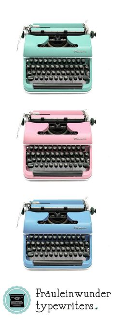 Pastel Olympia typewriters in working condition.