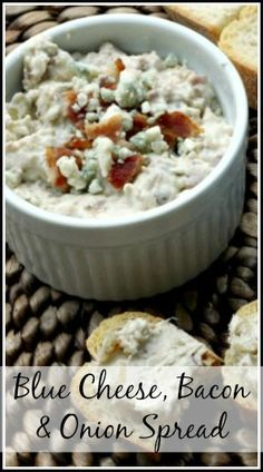 Blue Cheese, Bacon, & Onion Spread recipe - quick and easy appetizer dip recipe. snappygourmet.com