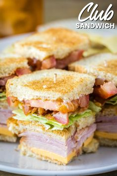 When it comes to lunch, nothing beats a Club Sandwich! This classic combination … When it comes to lunch, nothing beats a Club Sandwich! This classic combination of meats, cheese, & veggies piled high on bread is a sandwich lover's dream! Sandwich Bar, Turkey Club Sandwich, Club Sandwich Recipes, Best Sandwich, Salad Sandwich, Soup And Sandwich, Lunch Recipes, Cooking Recipes, Party Recipes