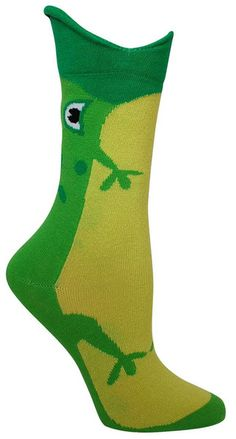 Socks that look like a frog is eating your leg. Fits a women's shoe size 5-10.