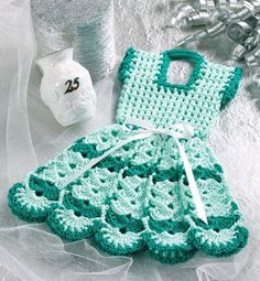 **PATTERN ONLY - Not the Finished Product - PATTERN ONLY**  W057 Crochet PATTERN ONLY Doll Dress Pot Holder Potholder Pattern   Offered is a Crochet Doll Dress Pot Holder Potholder Pattern....Finished