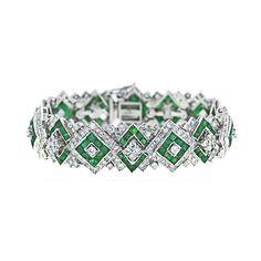 Art Deco Style Diamond and Emerald Bracelet