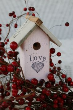 Valentine Birdhouse Ornaments Engagement by Shanesbirdhouses, $10.00