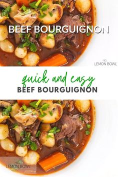 You've never had beef bourguignon that was so good and so EASY to make! Brown your meat, add ingredients and bake! Simple as that.