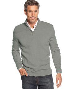 Geoffrey Beene Sweater, Quarter-Zip Mock-Neck Ribbed Yoke Pullover