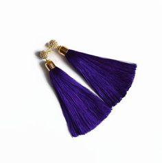 Silk #tassel  #earrings  #purple  earrings #boho ge #Boho earrings gift