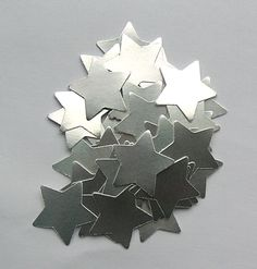 100 Die Cut Stars  Silver by SunnyCollectables on Etsy, £1.50
