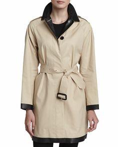 Burberry London Leather Collar Trenchcoat - Neiman Marcus
