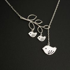 Mother and Baby Birds Lariat Necklace Silver by JewelryDeli, $27.00