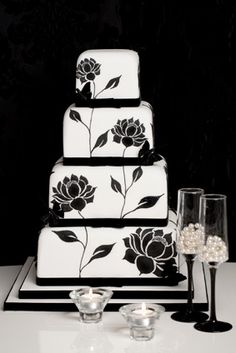 A striking hand painted design. A bold print with a black and white theme for a statement event.