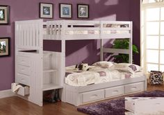 Furniture. white wooden bunk bed with shelves and stairs on brown wooden floor connected by purple wall. Modern Bunk Beds With Shelves To Inspire You