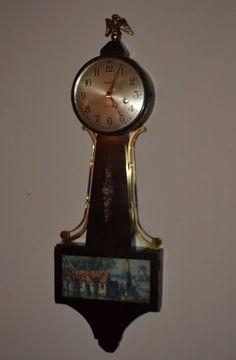 Antique Ingraham 8 Day Banjo Clock, Seaside Village Lithograph, Key