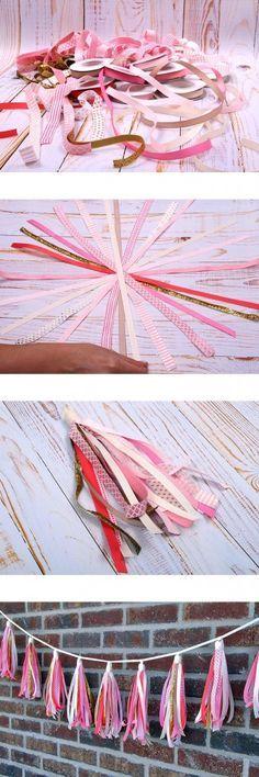 DIY Ribbon Tassel Garland Banner perfect for as a newborn photo shoot prop or baby shower decoration Diy Ribbon, Ribbon Crafts, Paper Crafts, Diy Crafts, Glitter Ribbon, Grosgrain Ribbon, Bunting Garland, Tassel Garland, Tassels