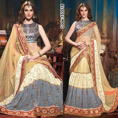 A #Lehenga with wonderful combination of #Grey and #Beige color! #Blue #DeepBlue #SalwaarSuits #FloralMotif #Volume #Layers #Embroidery #Designer #Occasion #IndianDresses #Partywears #Indian #Women #Bridalwear #Fashion #Fashionista #OnlineShopping
