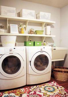 Have small laundry room? Got a boring laundry room? Need small laundry room design ideas? Laundry Closet Organization, Household Organization, Laundry Room Organization, Organization Ideas, Storage Ideas, Laundry Shelves, Laundry Storage, Storage Solutions, Basement Laundry