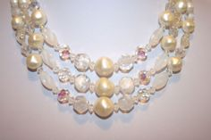 VINTAGE LAGUNA SIGNED TRIPLE STRAND CREAM FAUX PEARL & CLEAR CRYSTAL NECKLACE $65.00