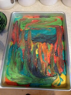 I achieve the tie dye effect I dyed several colors of cake batter and then dropped them into the pan in 1/2 cup increments randomizing the colors. When finished i spred the top to create a swirled effect.