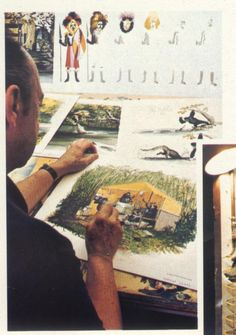 marc davis working on concept art for the jungle cruise